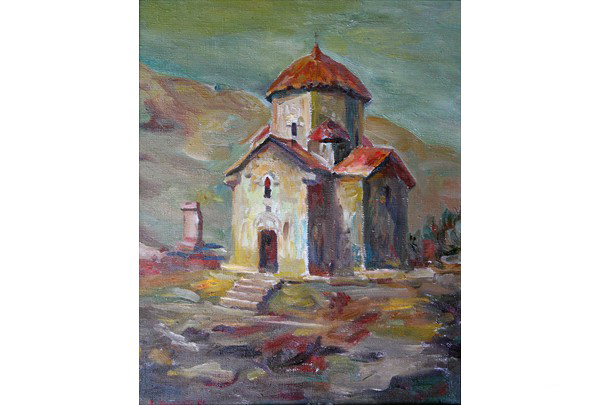 """Karmravor Church"" 50 х 40 oil on linen 1996"
