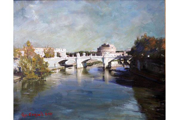 """Rome, Bridge of Angels"" 40 х 50 oil on linen  2011"