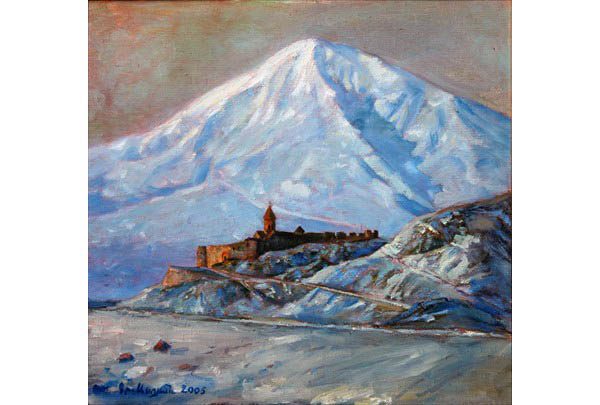 """Winter, Khor Virap"" 49 х 50 oil on linen 2006"