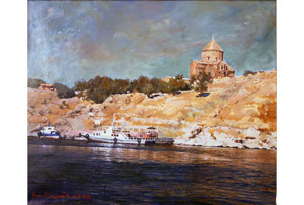 """Cathedral of the St. Cross on Akhtamar"" 49 х 60 oil on linen 2008"