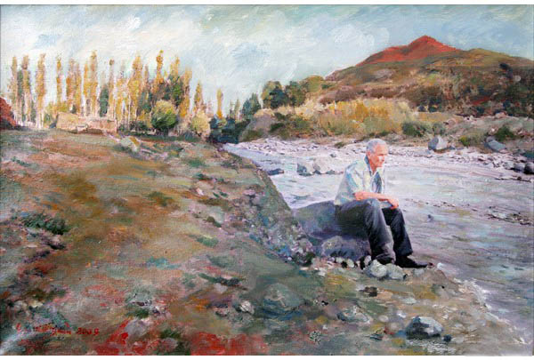 """Kagzvan by the r. Araks"" 50 х 60 oil on linen 2009"
